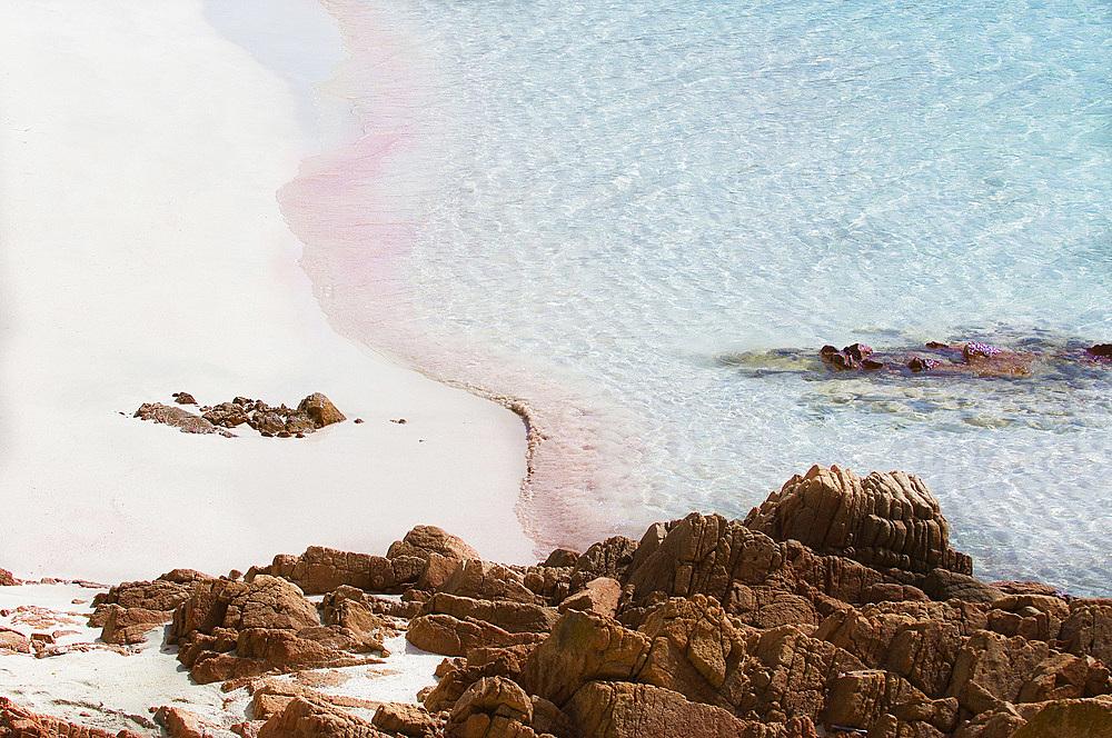 Pink Beach (Spiaggia Rosa or Cala di Roto), Island of Budelli; La Maddalena Archipelago, Bocche di Bonifacio, Sardinia, Italy, Europe