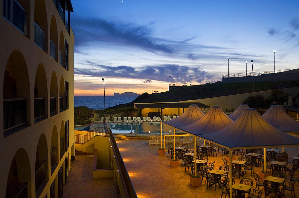 Capo Caccia view from Cala Bona Hotel, Alghero, Sardinia, Italy, Europe