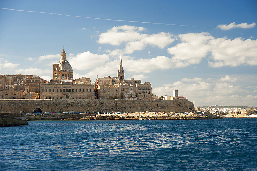 La Valletta, Capital of Culture 2018, skyline with the Carmelite Church dome and St. Pauls Anglican Cathedral, Malta Island, Mediterranean Sea, Europe
