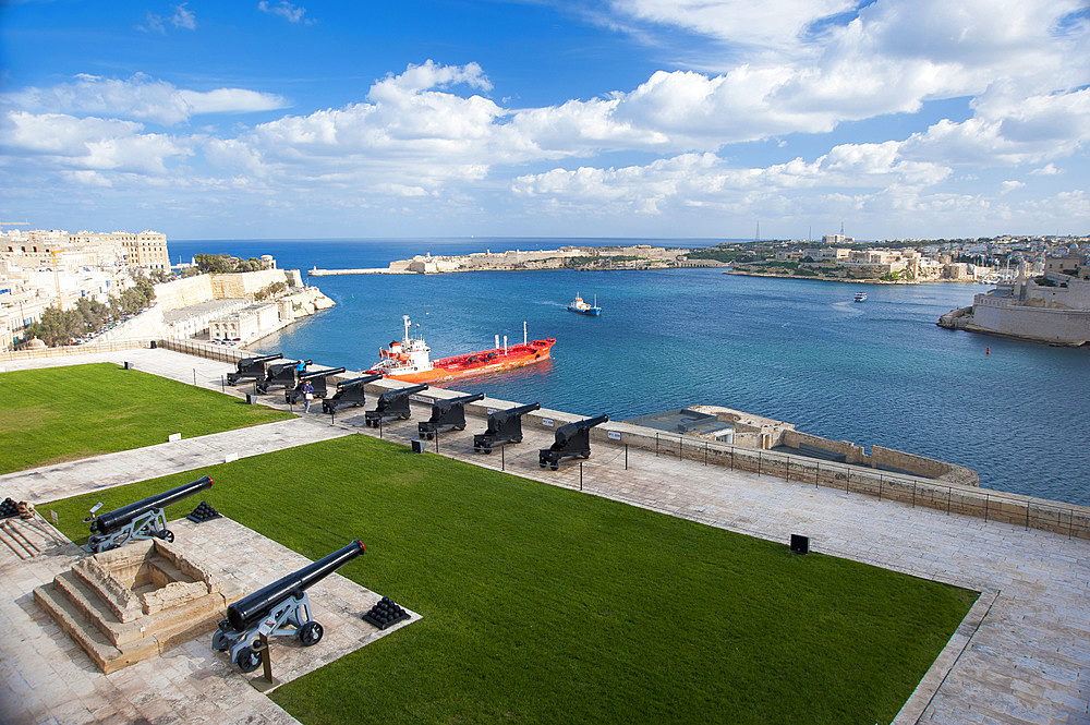 La Valletta, Capital of Culture 2018, Upper Baracca Garden, Grand Harbor; Waterfront, Malta Island, Mediterranean Sea, Europe
