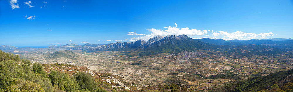 Landscape, Monte Corrasi and Cedrino Valley, view from Monte Ortobene, Sardinia, Italy, Europe