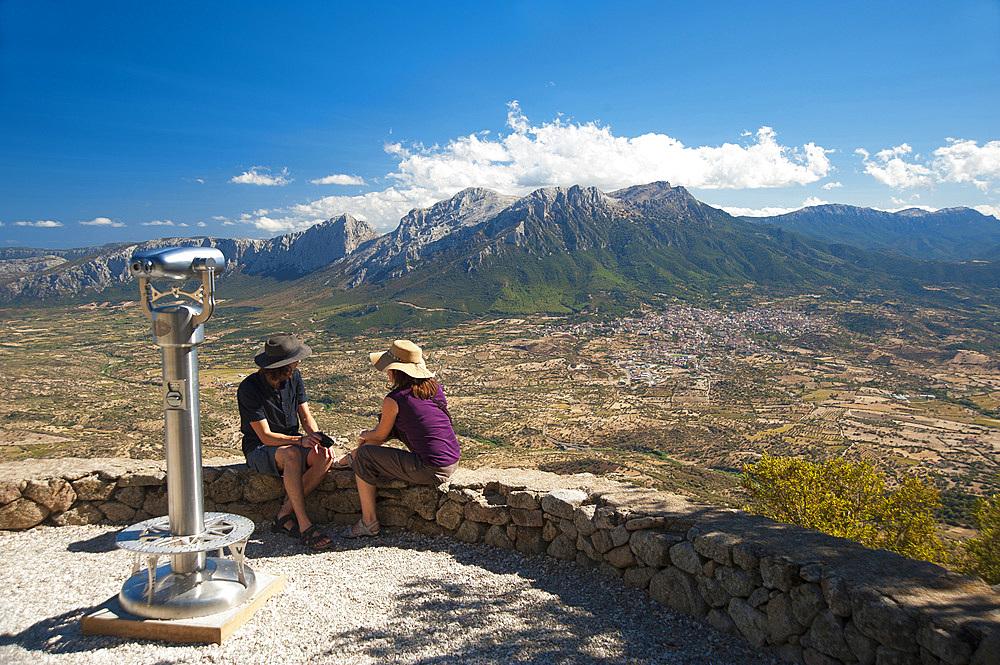 Monte Corrasi, Oliena, coin-operated spotting scope, view from Monte Ortobene, Sardinia, Italy, Europe