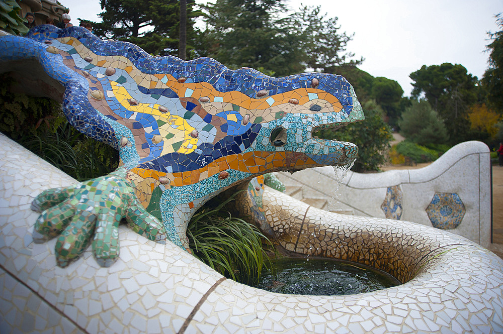 El drac (the dragon) Parc Güell, Barcelona, Catalonia, Spain, Europe
