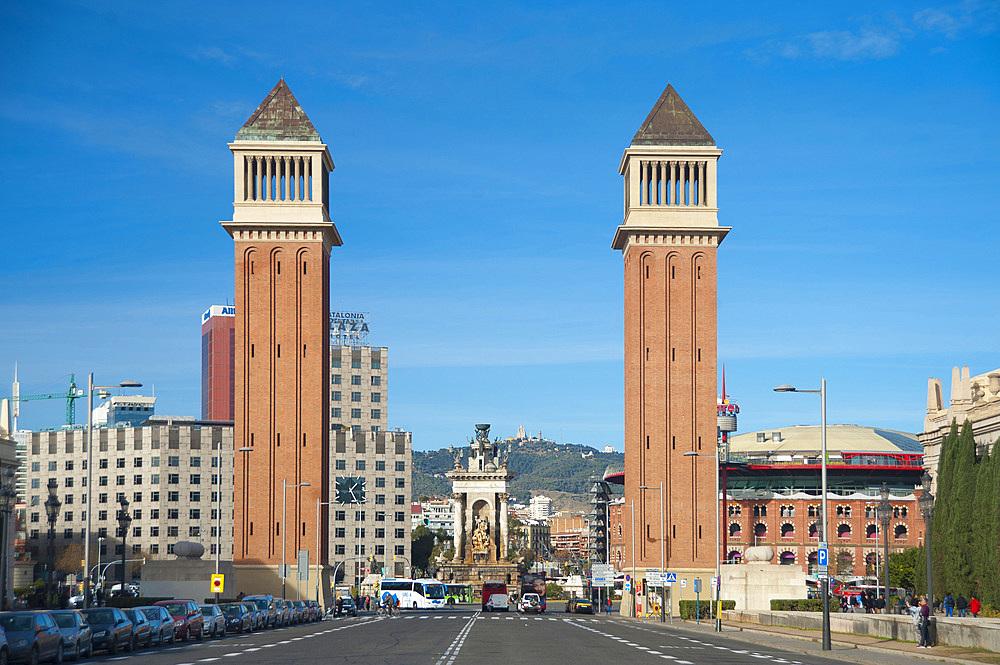 Venetian Tower, Plaça d'Espanya, Barcelona, Catalonia, Spain, Europe
