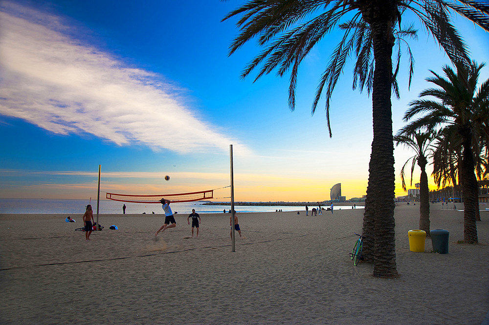 Playa de Barceloneta, Barcelona, Catalonia, Spain, Europe