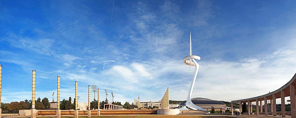 Landscape, Anella Olimpica, Barcelona, Catalonia, Spain, Europe