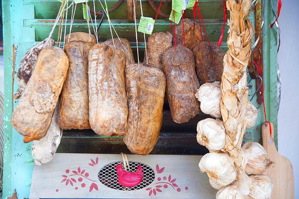 Traditional Corsican sausages, Saint-Florent, Haute-Corse, Corsica, France, Europe