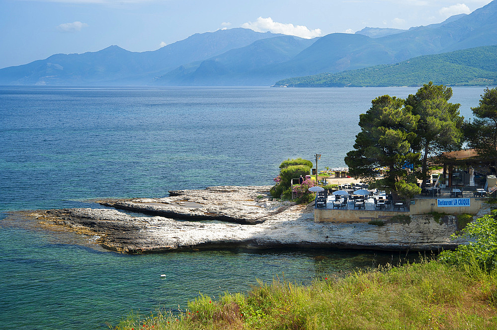 Landscape and La Crique restaurant, Saint-Florent, Haute-Corse, Corsica, France, Europe