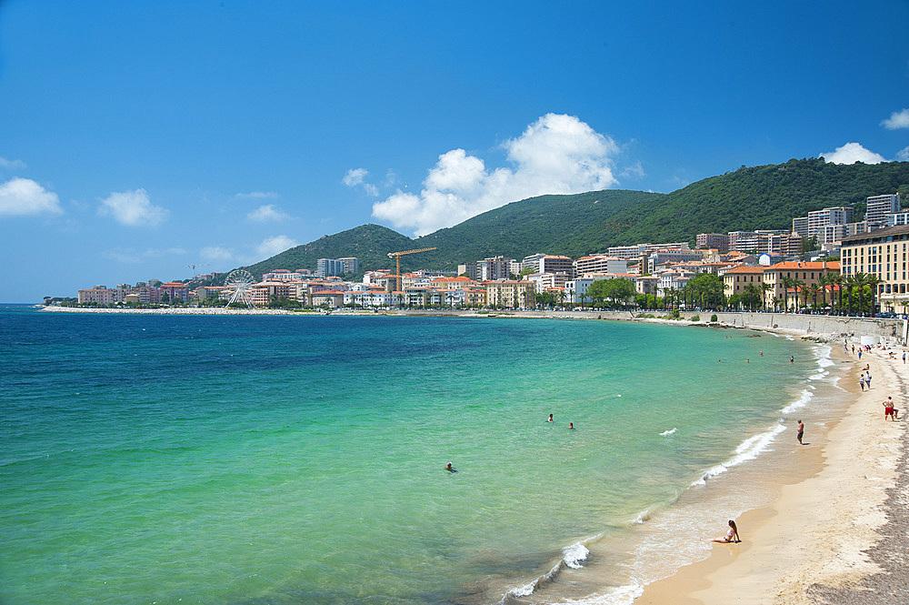 Plage de St. Francois beach, Ajaccio, Corsica, France, Europe