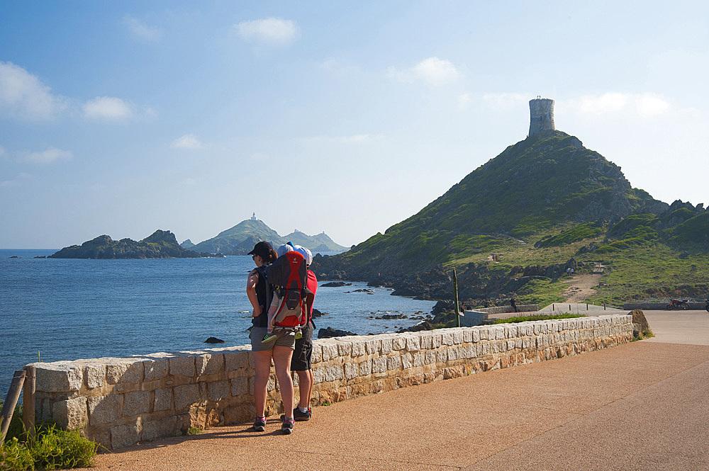 The Genovese tower, Archipelago of Sanguinary Islands, Ajaccio, Corsica, France, Europe