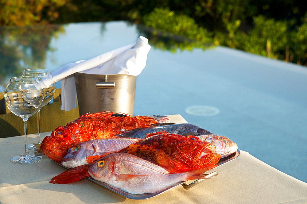 Fresh fish, Restaurant L'An Faim, Version Maquis, Bonifacio, South Corsica, France, Europe