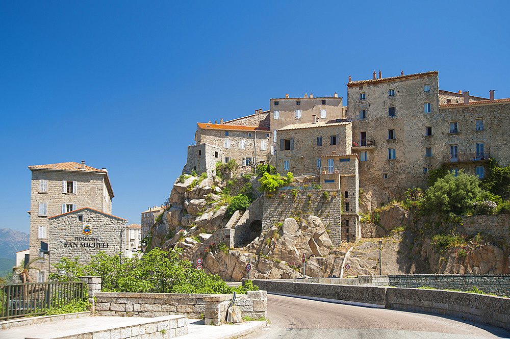A view of the town of Sartene in the Sartenais region of Corsica, France, Europe