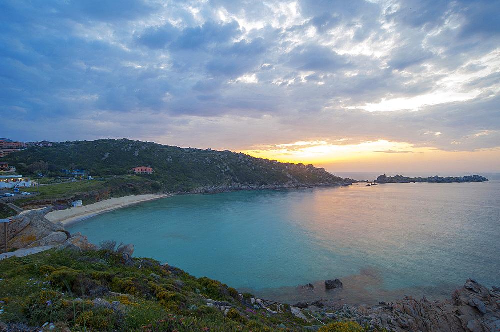 Sunset on the beach of Rena Bianca beach, Santa Teresa di Gallura, Sardinia, Italy, Europe