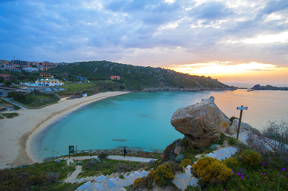 Sunset on the beach of Rena Bianca beach, Santa Teresa di Gallura, Sardinia, Italy, Europe