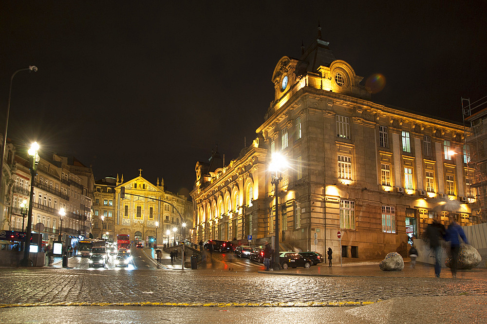 Nigh view of Sao Bento railway station, Porto, Portugal, Europe
