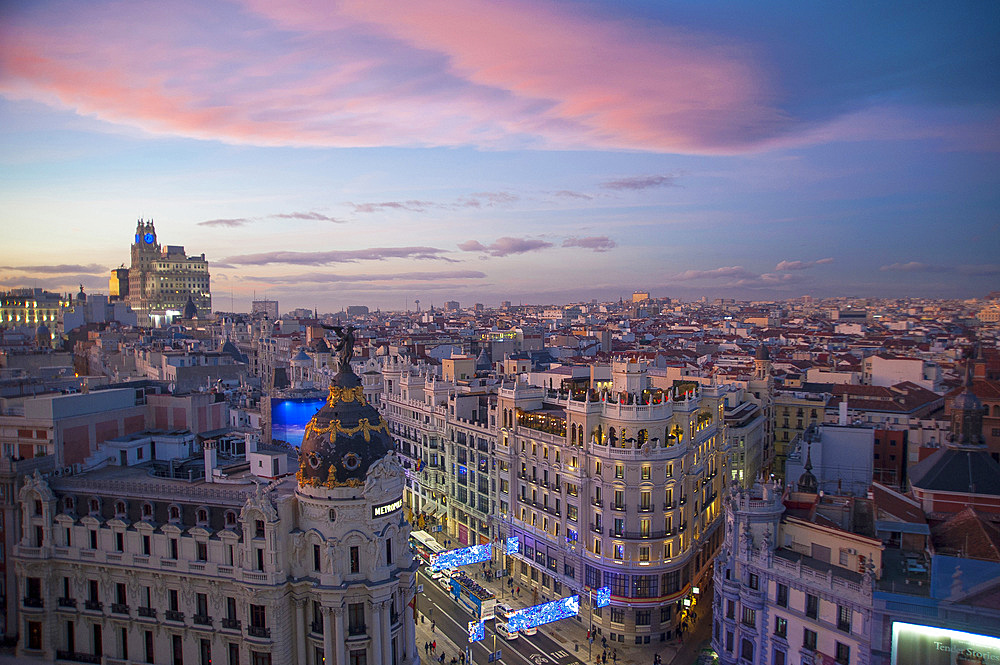 Calle de Alcalà and Calle Gran Via, Metropolis Building, View from Terrace Circulo de Bellas Artes Azotea, Madrid, Spain, Europe
