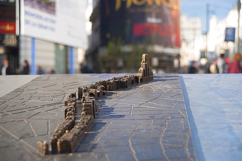Calle Gran Via, Madrid, Spain, EuropePalace; Calle; Towers; Modern; Build; Madrid; Spain; Europe; Gran Via; Statue; Cityscape; Architecture; Square; Building; Business; Shopping; Store; Skyscraper; Horizontal; Vertical