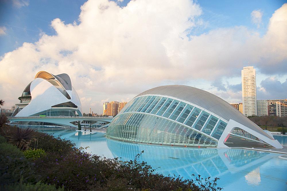 Palau de les arts Reina Sofia and Hemisferic, Ciutat de les Arts i les Ciències, Valencia, Spain, Europe