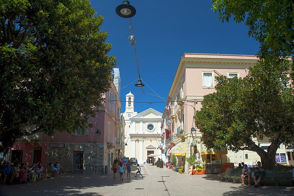Piazza della Repubblica and Church of San Carlo Borromeo, Carloforte, San Pietro Island, Sardinia, Italy, Europe