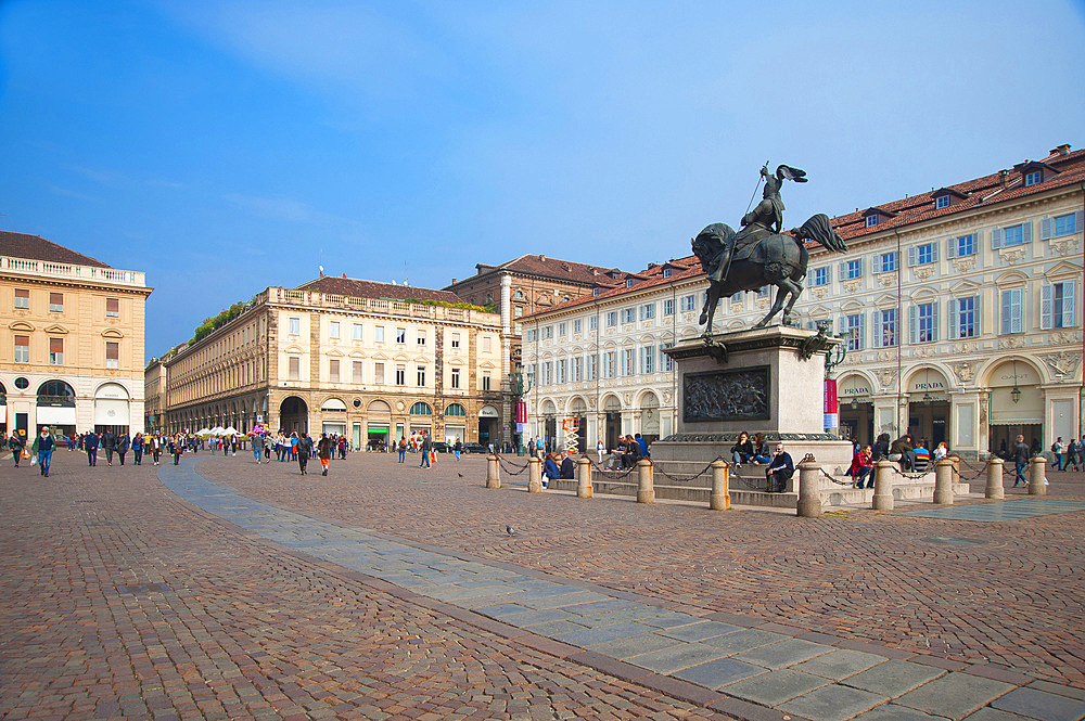 Piazza San Carlo, historic city center, Turin, Piedmont, Italy, Europe