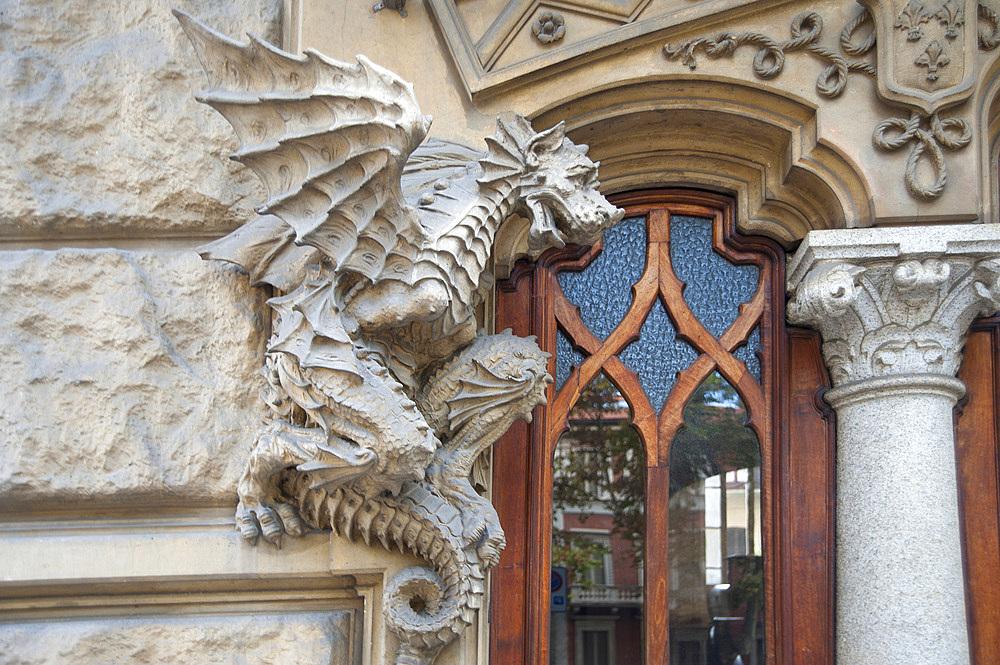 Palazzo della Vittoria or Casa dei Draghi palace, Liberty Palace, historic city center, Turin, Piedmont, Italy, Europe
