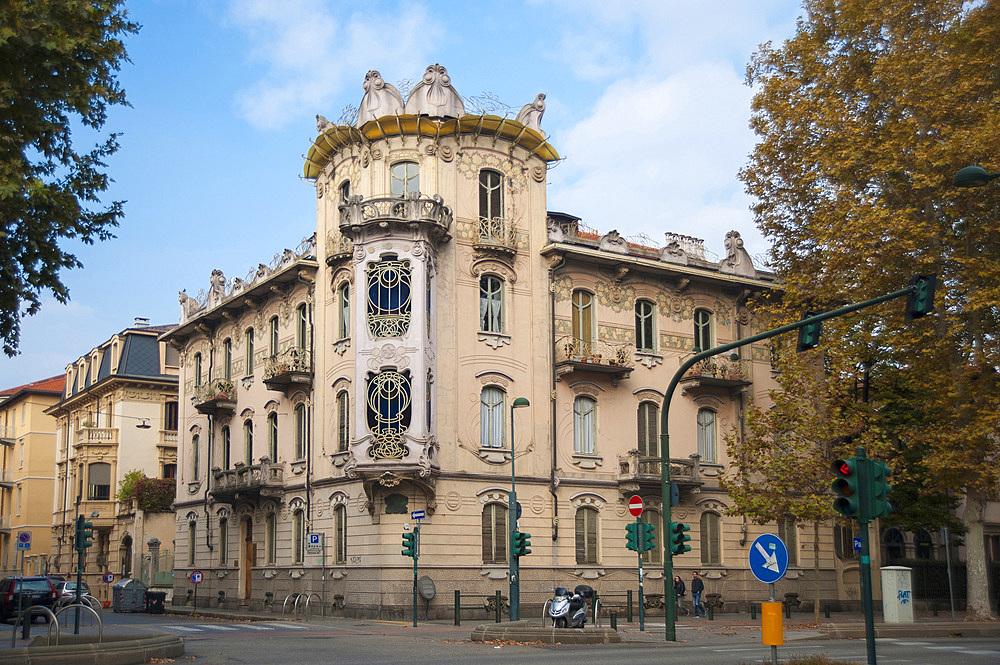 Casa Fenoglio palace, La Fleur, Liberty Palace, Corso Francia, historic city center, Turin, Piedmont, Italy, Europe