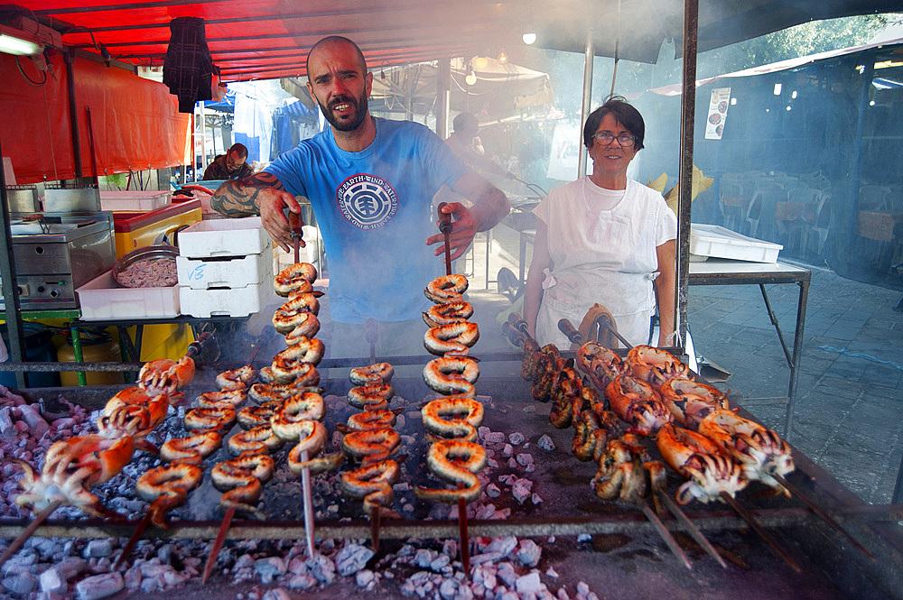 Cuttlefish and Eels on the spit, Typical Sardinia recipe, Feast of Santa Vitalia, Serrenti, Campidano, Sardinia, Italy, Europe,