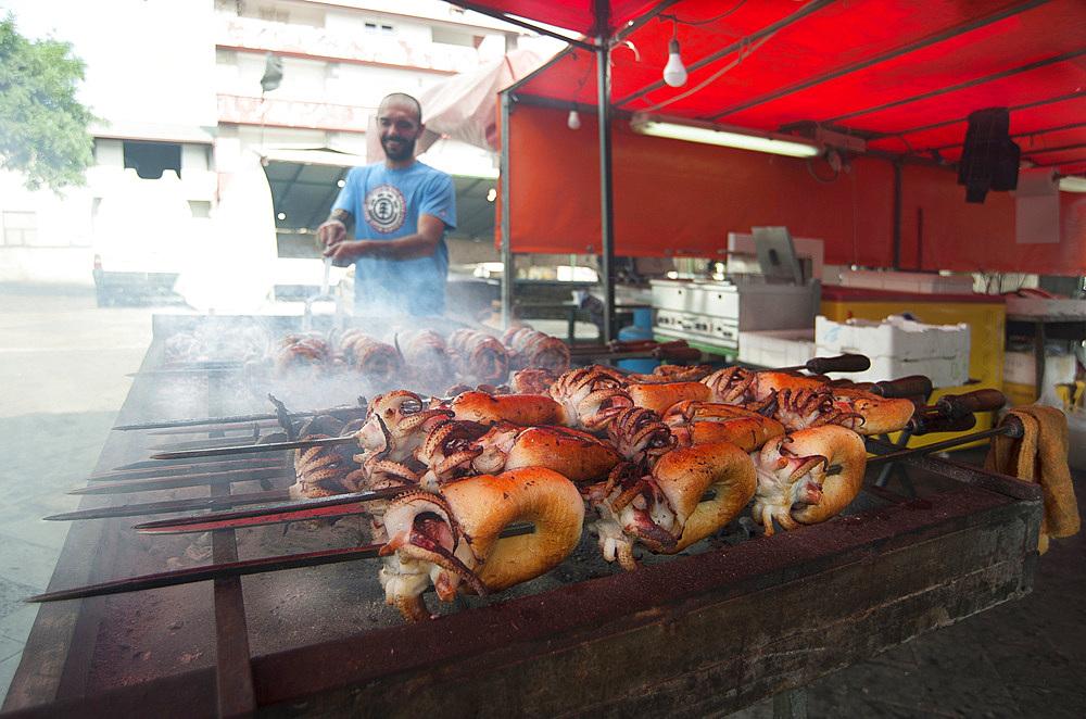 Cuttlefish on the spit, Mullet Grilled, Typical Sardinia recipe, Feast of Santa Vitalia, Serrenti, Campidano, Sardinia, Italy, Europe,