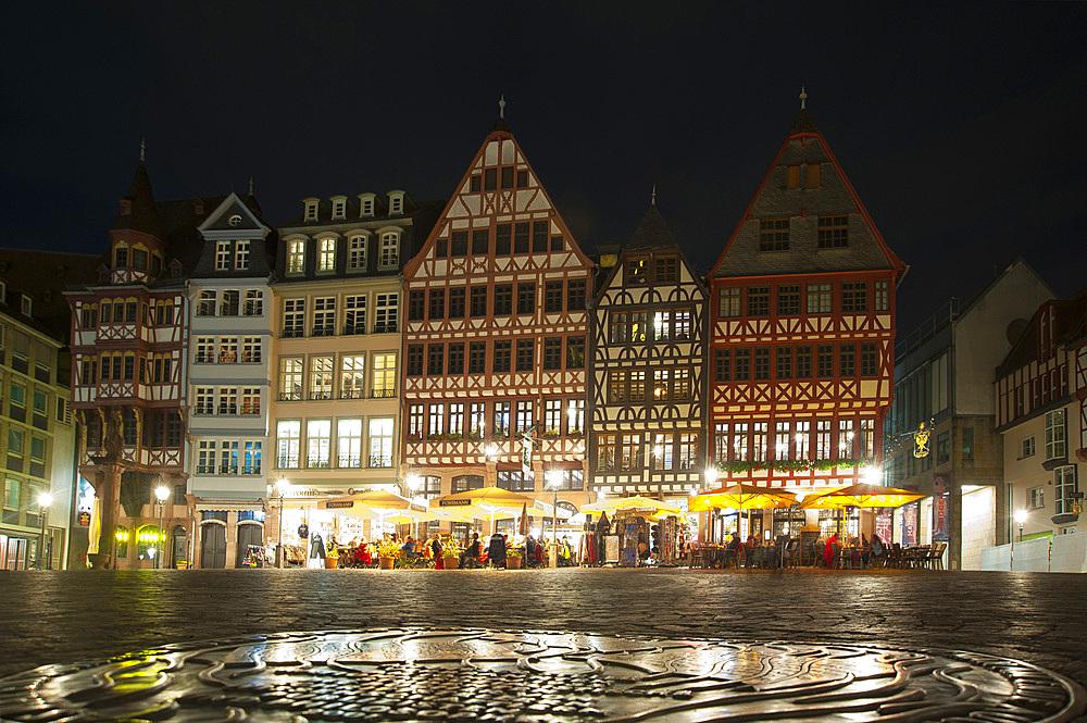 Samstagsberg, Romerberg, Frankfurt am Mein, Frankfurter skyline, Frankfurt, Hesse, Germany, Europe