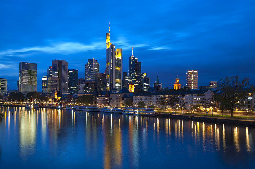 Skyscraper Skyline, Frankfurt am Mein, Frankfurt, Hesse, Germany, Europe
