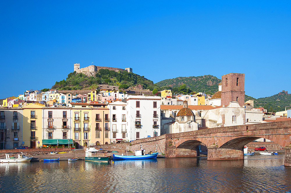 Malaspina Castle and River Temo, Bosa, Sardinia, Italy, Europe