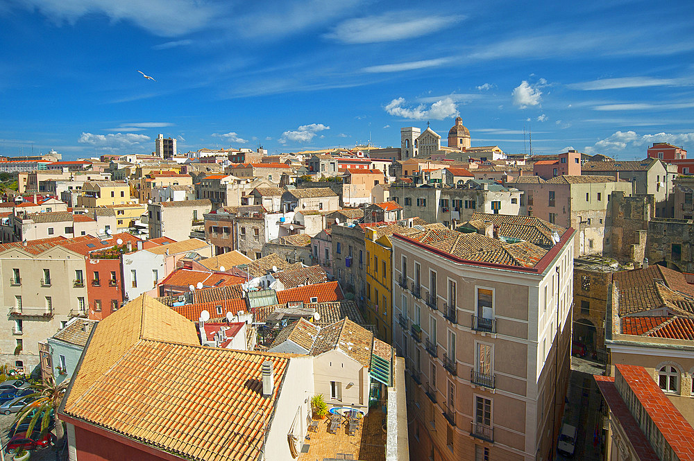 Cathedral and San Pancrazio tower;, Castello, Cagliari, Sardinia, Italy, Europe