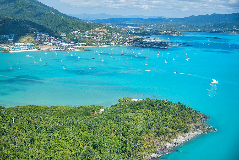 Airlie Beach coastline as seen from airplane.