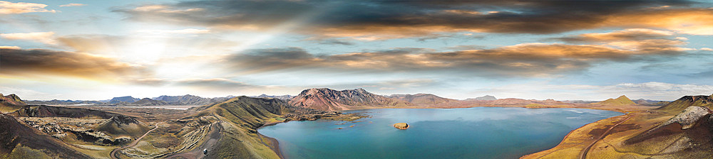 Panoramic sunset aerial view of Frostastadhavatn lake. Landmannalaugar, Fjallabak Nature Reserve in the Highlands of Iceland.