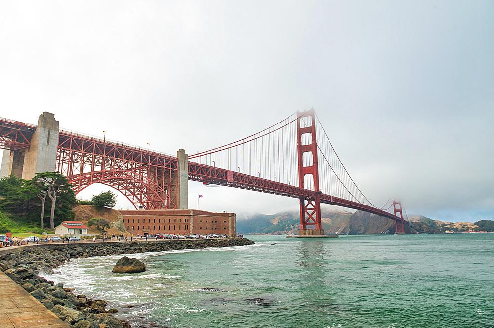 San Francisco. Golden Gate Bridge on a foggy summer morning.