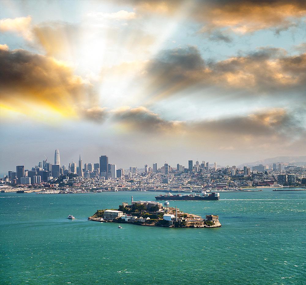 Alcatraz Island at dusk in San Francisco.