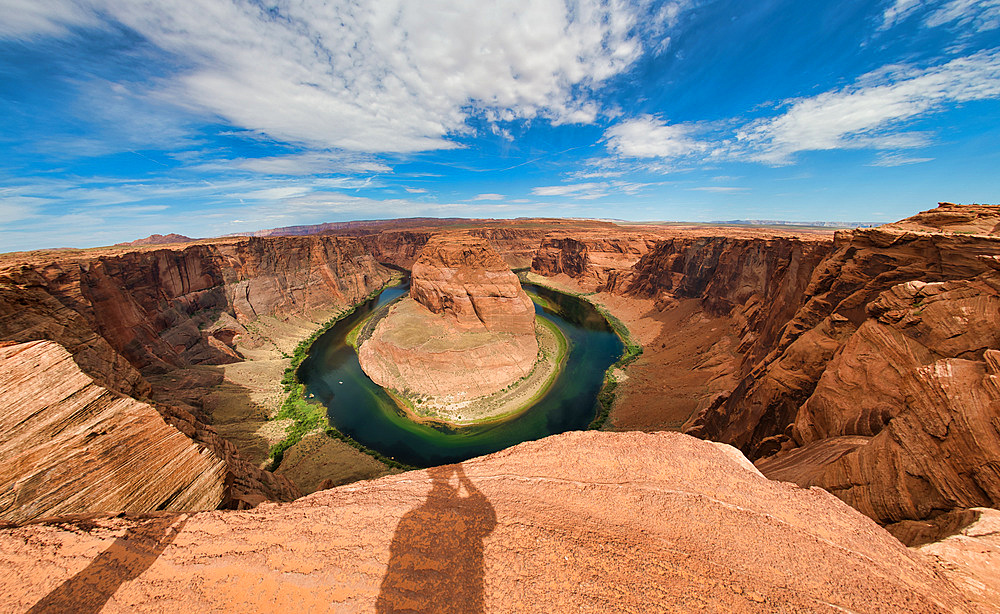 Wide angle view of Horseshoe Bend on a beautiful summer morning, Arizona - USA.