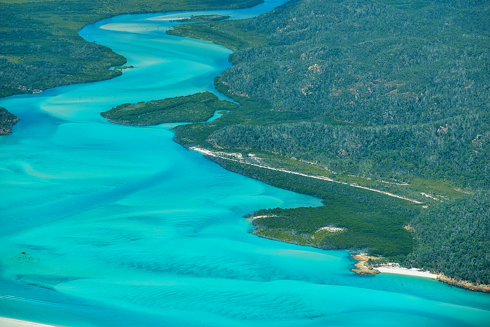 Aerial view of beautiful Whitehaven Beach in Whitsunday Islands, Australia - 746-89428