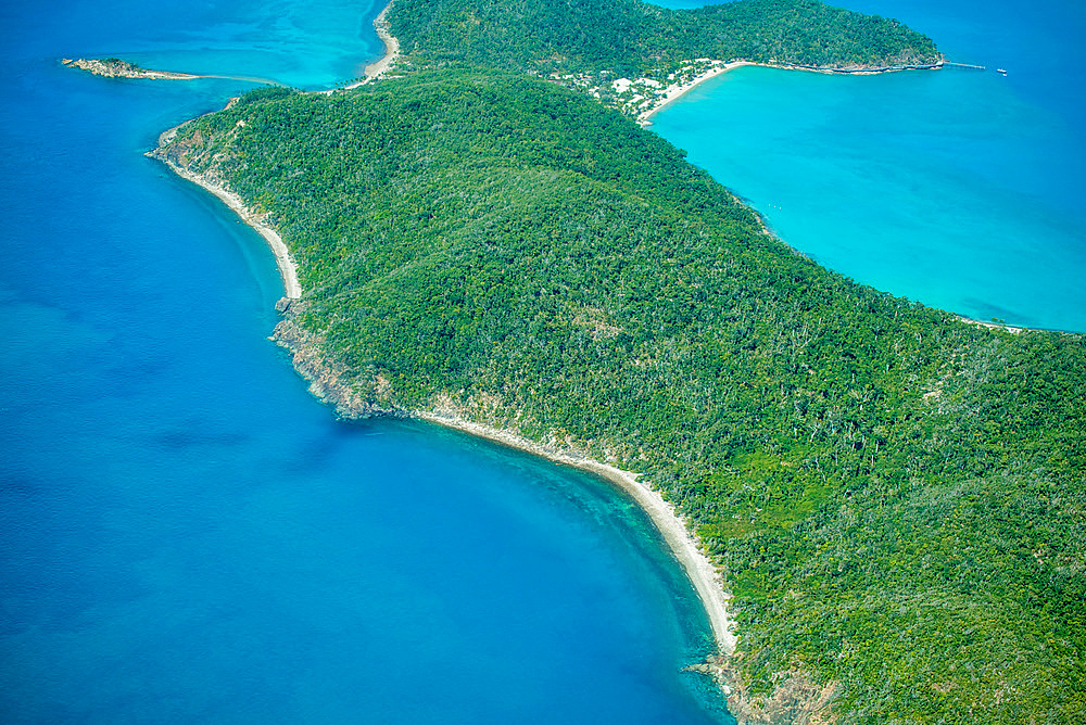 Aerial view of beautiful island coastline.