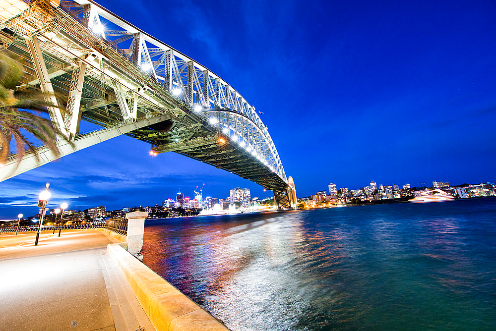 Sydney Harbor Bridge at night, Australia.