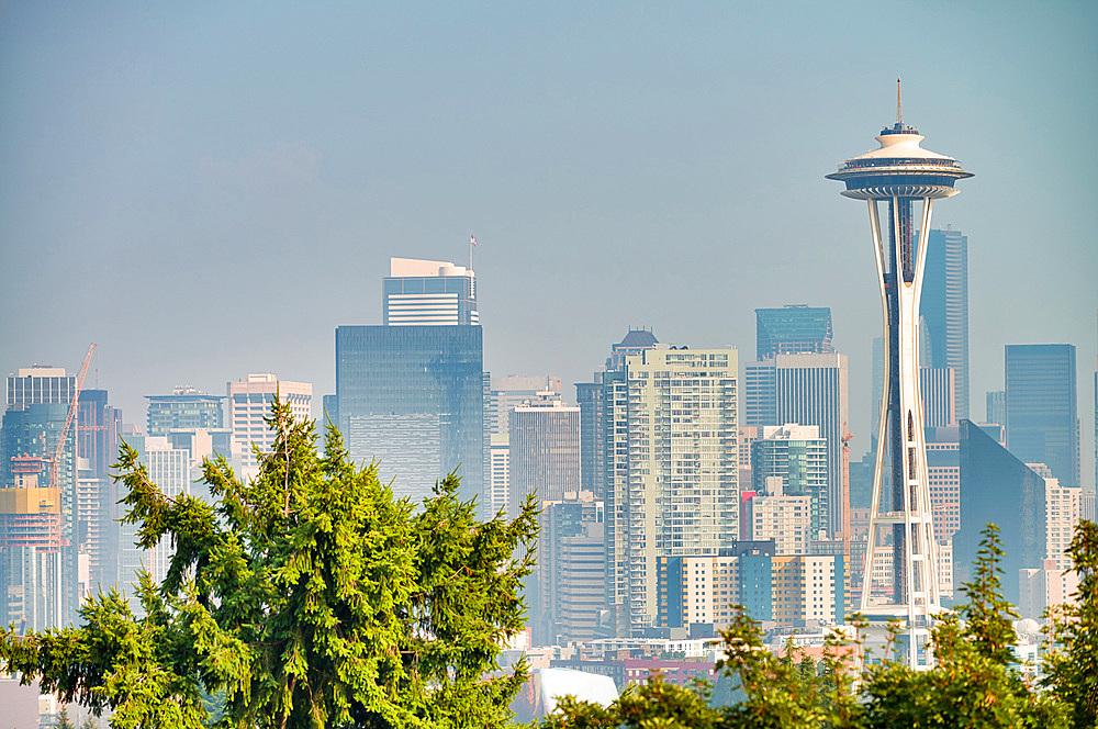 Aerial view of beautiful Seattle skyline, WA