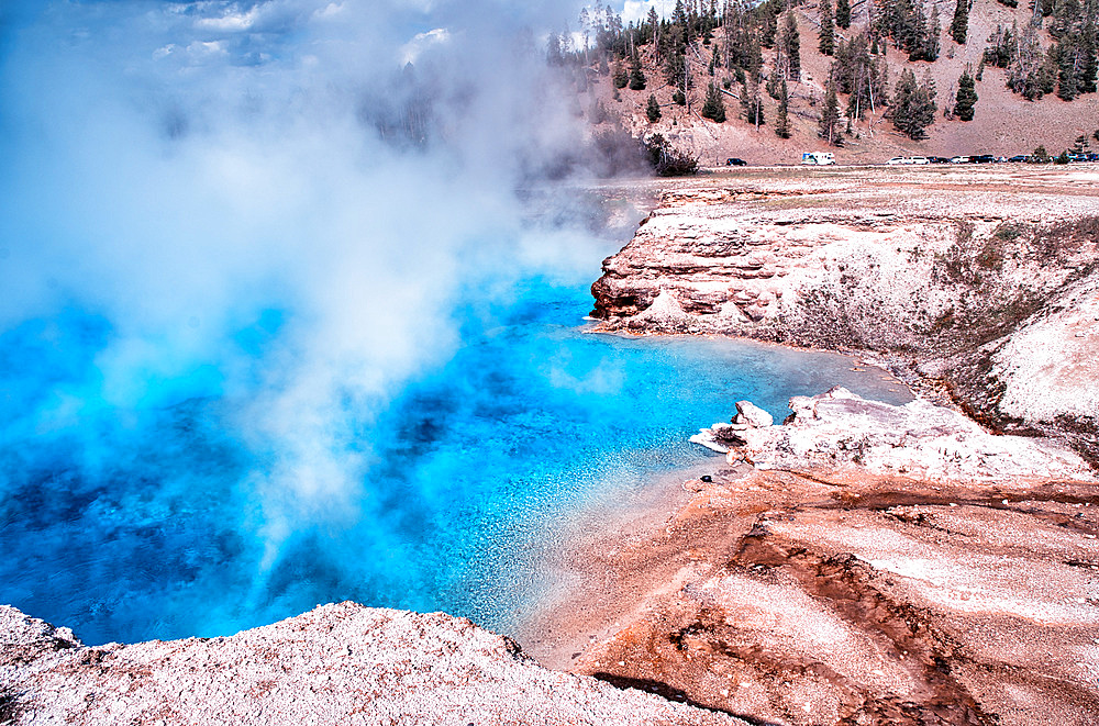 Excelsior Geyser Crater near Grand Prismatic Spring, Yellowstone National Park.