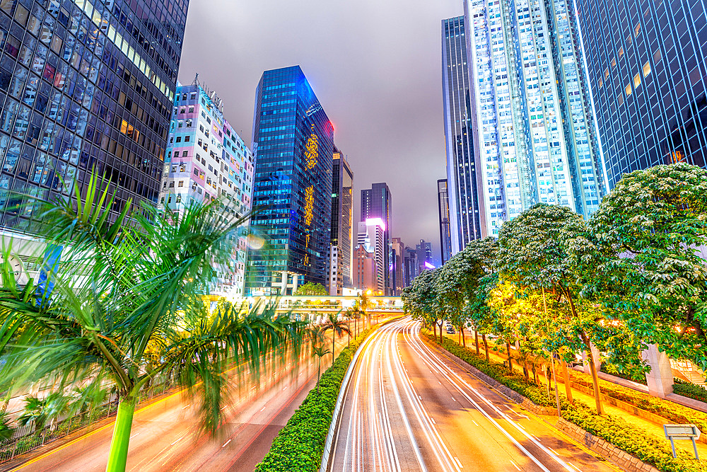 Hong Kong buildings and traffic. City skyline at night. Business concept. - 746-89499