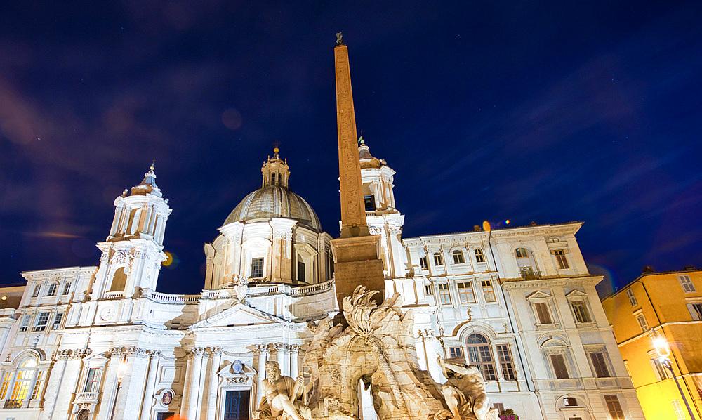 Navona Square at night, Rome - Italy.