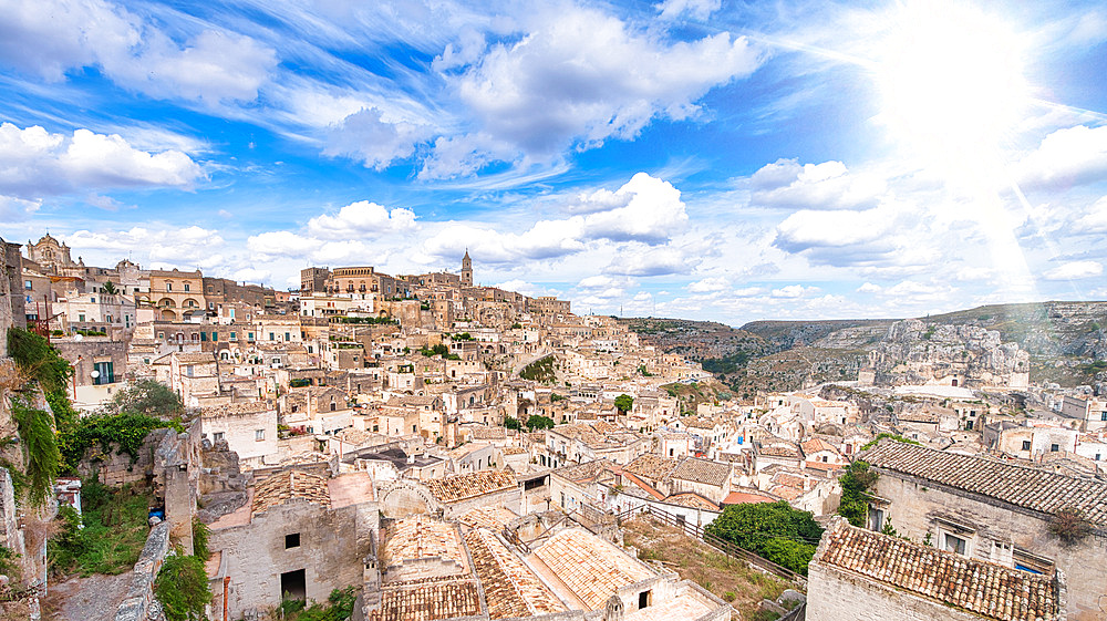 Beautiful view of Matera cityscape in summer season, Italy.