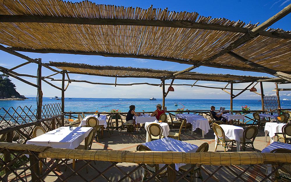 Capri restaurant on the beach, Capri island, Naples, Campania, Italy, Europe.