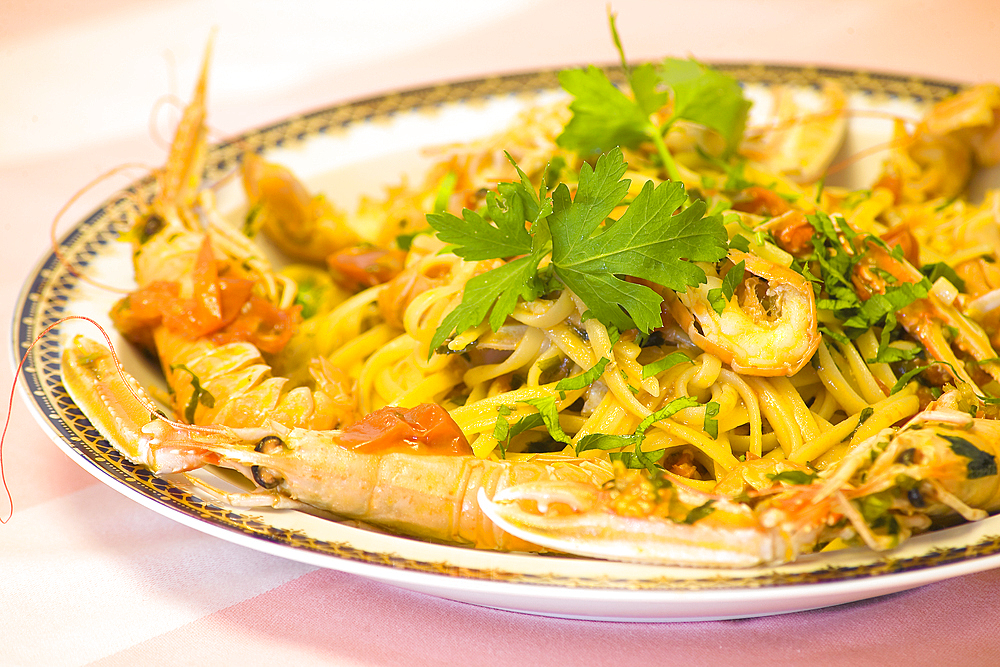 Spaghetti with Shrimps, Ischia island, Naples, Campania, Italy, Europe.