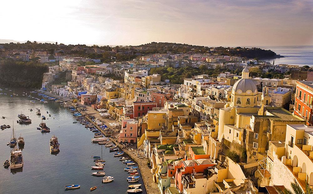 La Corricella, Procida island, Naples, Campania, Italy, Europe.