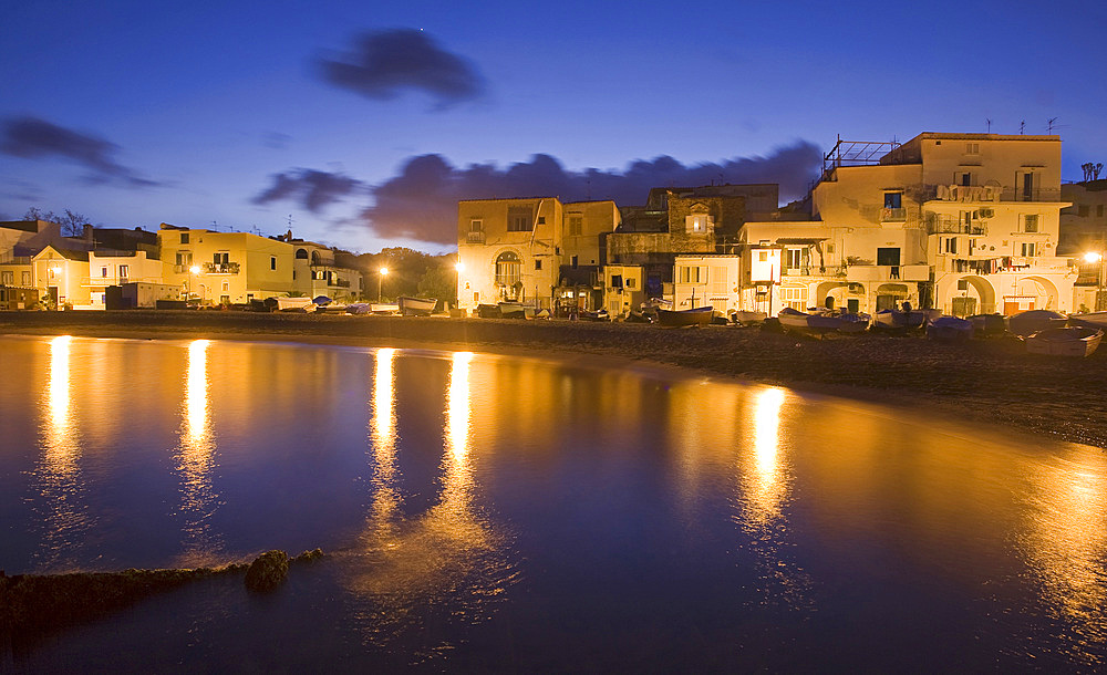 Fisherman's houses Mandra beach, Ischia Ponte, Ischia island, Campania, Italy, Europe