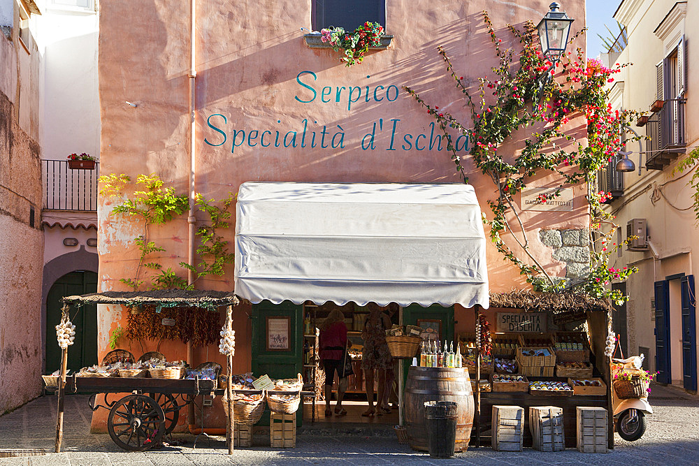 Serpico food shop, Forio, Ischia island, Campania, Italy, Europe.
